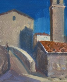 1 Montamassi. Город крепость в Тоскане. 2015 бум. акв.гуашь13х16