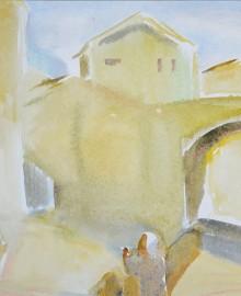 2 У Золотого моста (Понте Веккьо) Флоренция мост 2010 бум. акв.  40х60