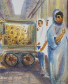 4 Продавец бубликов в Трабзоне.Турция  бум. акв. 40х60