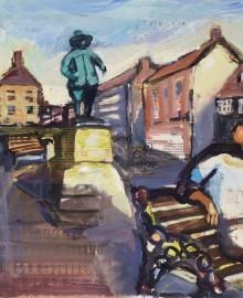 5 Памятник Оливеру Кромвелю в г.Или  (Ely) Англия 2012 бум. акв. гуашь 40х60