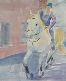 7 Всадник на белом коне в городе Клер. Англия 2012 бум.акв.40х60